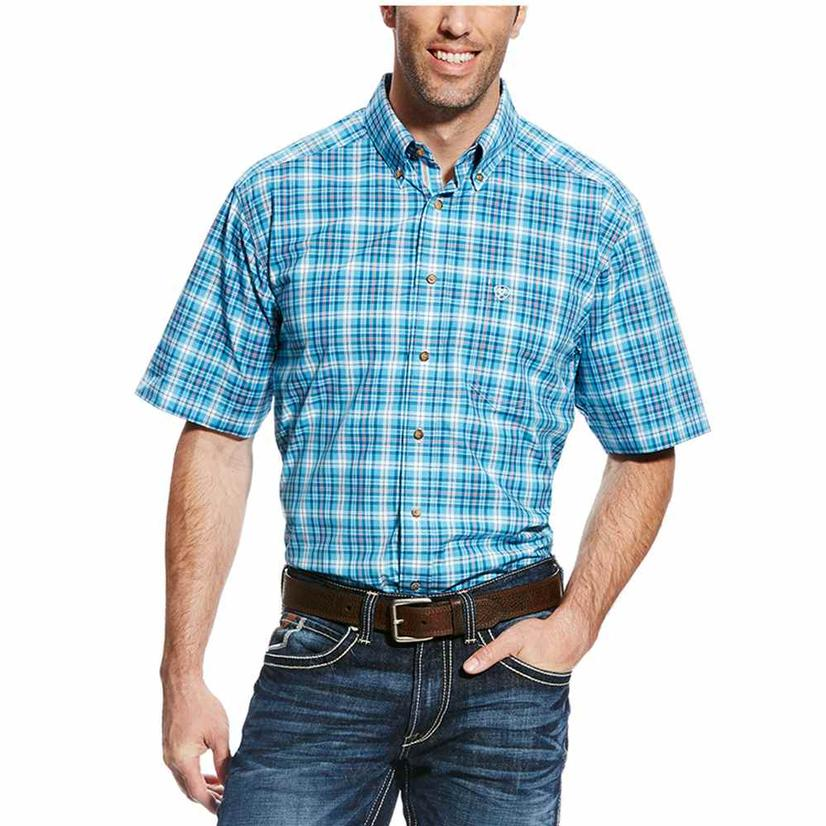 Ariat Mens Fritz Blue Grotto Plaid Short Sleeve Shirt