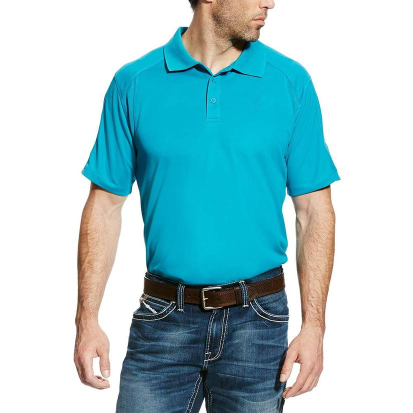 Ariat Mens Enamel Blue Polo Shirt