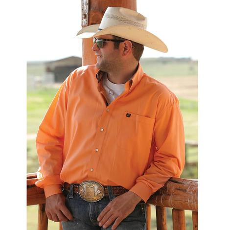 Cinch Mens Solid Coral Long Sleeve Shirt