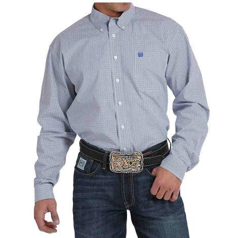 Cinch Mens Blue & White Small Plaid Western Shirt