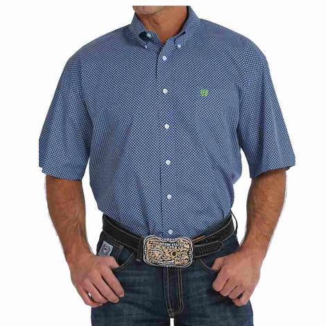 Cinch Mens Royal & Green Print Short Sleeve Western Shirt