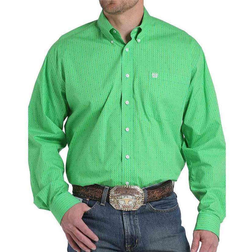 Cinch Mens Green Dollar Sign Print Long Sleeve Button Down Shirt