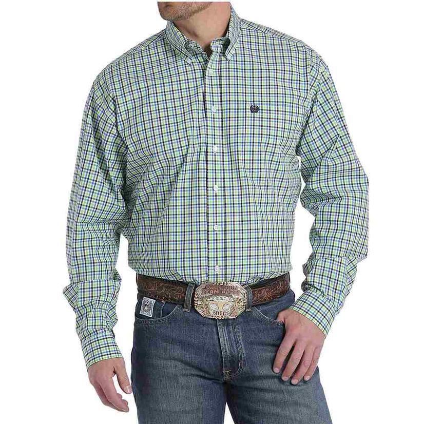 Cinch Mens Green Blue Black Plaid Long Sleeve Button Down Shirt