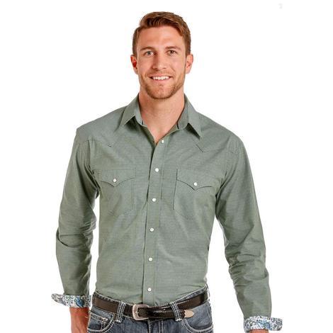 Panhandle Slim Mens Green White Ginham Lons Sleeve Snap Shirt