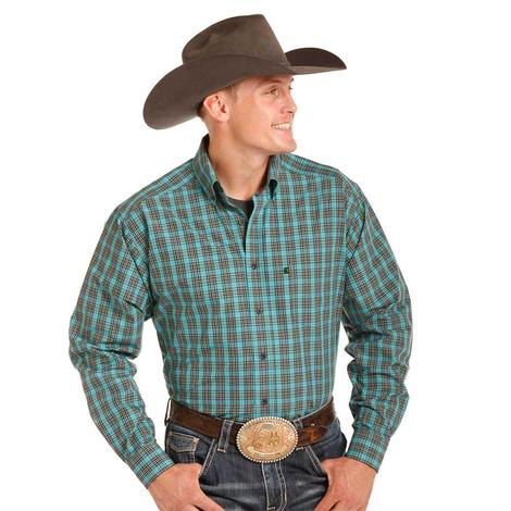 Panhandle Slim Mens Tuf Cooper Brown and Turquoise Plaid Long Sleeve Shirt