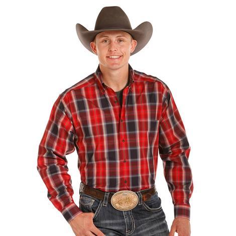 Tuf Cooper Mens Red Plaid Long Sleeve Shirt