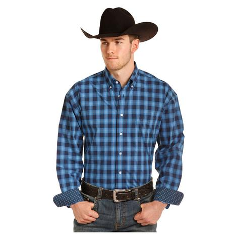 Panhandle Slim Navy and Blue Mens Plaid Long Sleeve Shirt