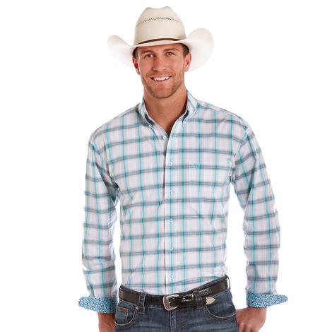 Panhandle Slim Mens White & Turquoise Plaid Western Shirt