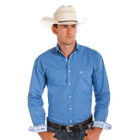 Panhandle Slim Mens Long Sleeve Blue Print Western Shirt