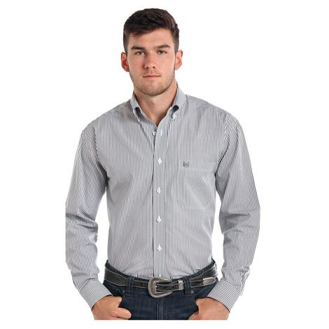 Panhandle Slim Mens Pinstripe Grey Button Down Long Sleeve Shirt