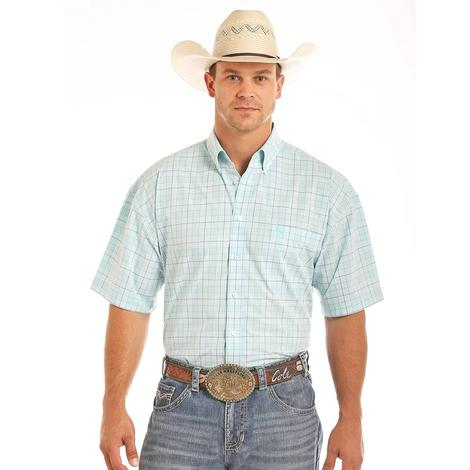 Panhandle Slim Mens Short Sleeve Aqua Plaid Western Shirt