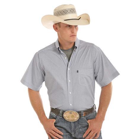 Tuf Cooper Mens Stretch Poplin Print Short Sleeve Western Shirt