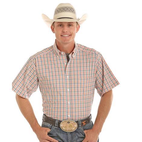 Panhandle Slim Mens Competition Short Sleeve Orange & Blue Western Shirt
