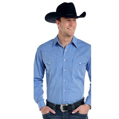 Panhandle Slim Mens Blue Long Sleeve Snap Shirt