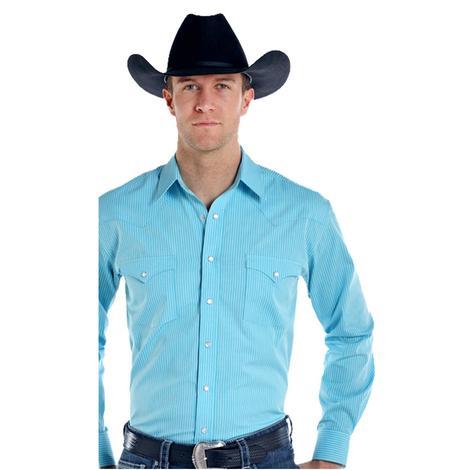 Panhandle Slim Mens Turquoise Long Sleeve Snap Shirt