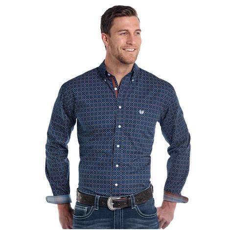 Panhandle Slim Mens Navy Brown Diamond Print Long Sleeve Shirt