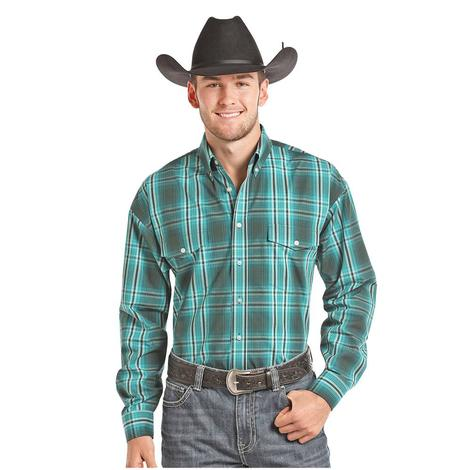 Panhandle Slim Mens Teal Plaid Long Sleeve Snap Shirt