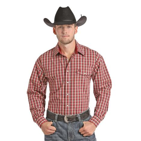 Panhandle Slim Mens Red White Plaid Long Sleeve Shirt
