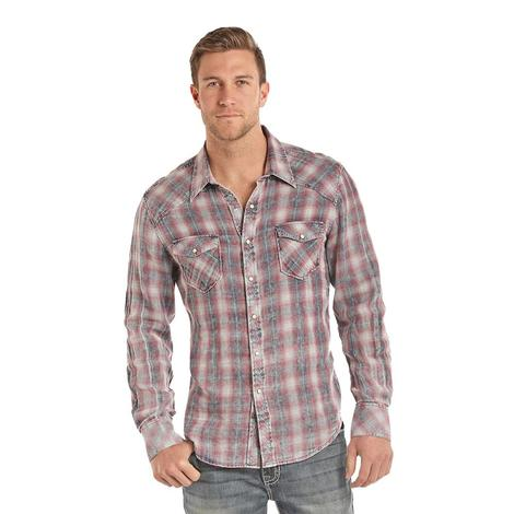 Panhandle Slim Mens Faded Grey Red Long Sleeve Plaid Snap Shirt