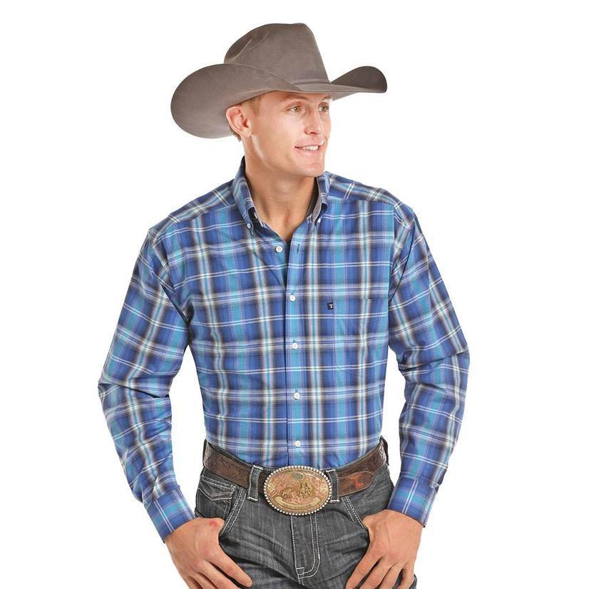 Panhandle Slim Mens Blue White Plaid Long Sleeve Shirt