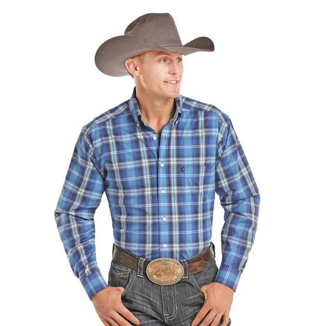 Panhandle Slim Mens Blue White Plaid Long Sleeve Shirt