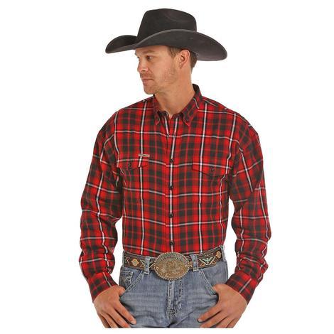 Panhandle Slim Mens Red Black Brushed Plaid Long Sleeve Shirt