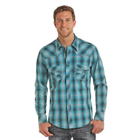 Rock and Roll Cowboy Mens Teal and Cream Plaid Long Sleeve Snap Shirt