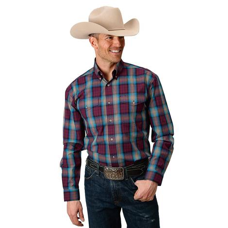 Roper Mens Rust and Blue Plaid Button Down Shirt