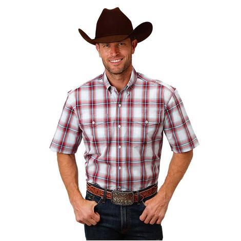 Roper Mens Red & Blue Plaid Western Shirt
