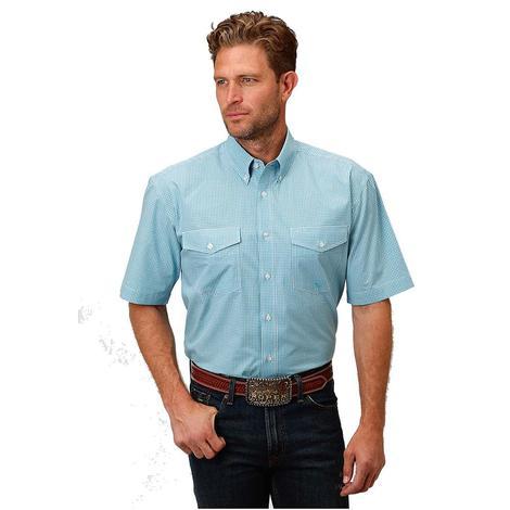 Roper Mens Blue Gingham Mini Check Western Shirt