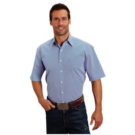 Stetson Mens Blue Print Short Sleeve Button Down Shirt