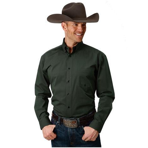 Roper Mens Solid Long Sleeve Olive Western Shirt