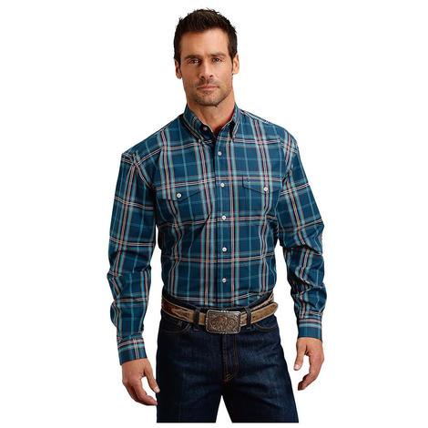 Stetson Mens Blue Plaid Two Pocket Long Sleeve Button Down Shirt