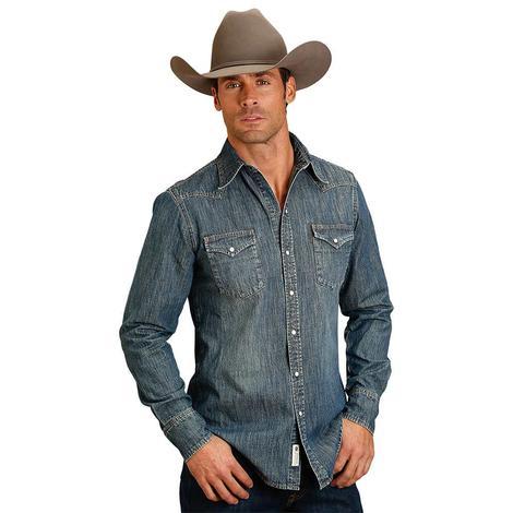Stetson Mens Denim Pearl Snap Long Sleeve Shirt