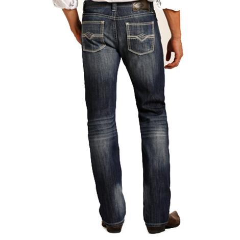 Rock & Roll Cowboy Mens Revolver Straight Leg Medium Wash Jeans