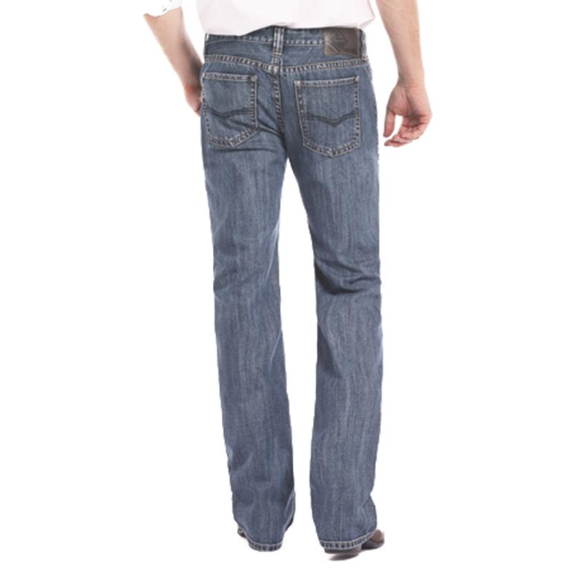 Rock & Roll Cowboy Mens Pistol Medium Wash Straight Leg Jeans