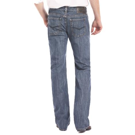 Rock & Roll Cowboy Mens Pistol Medium Wash Straight Leg Jeans