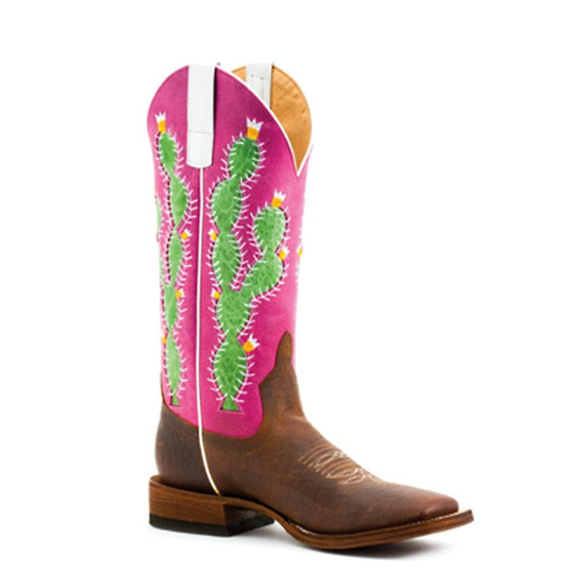 Macie Bean Womens Prickled Pink Square Toe Boots