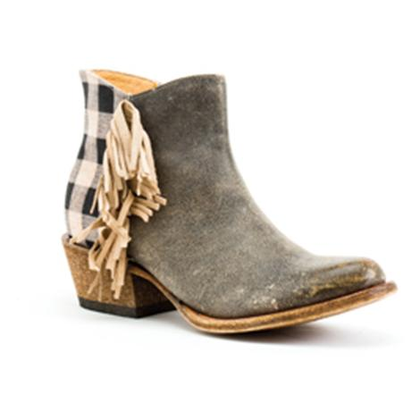 Macie Bean Womens Lumber Jill Black and White Gingham Shortie Boot