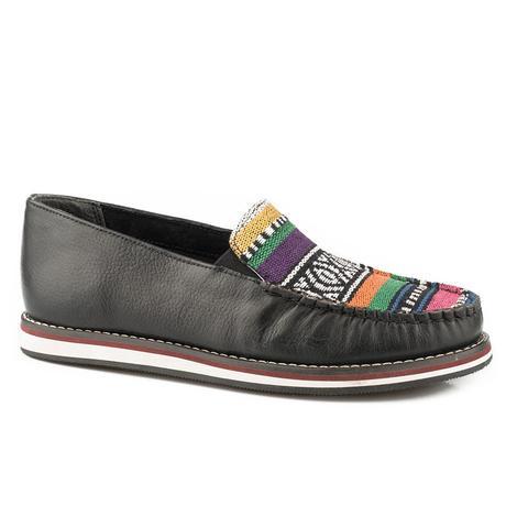 Roper Womens Jacqueline Black Leather Serape Slip On Shoe