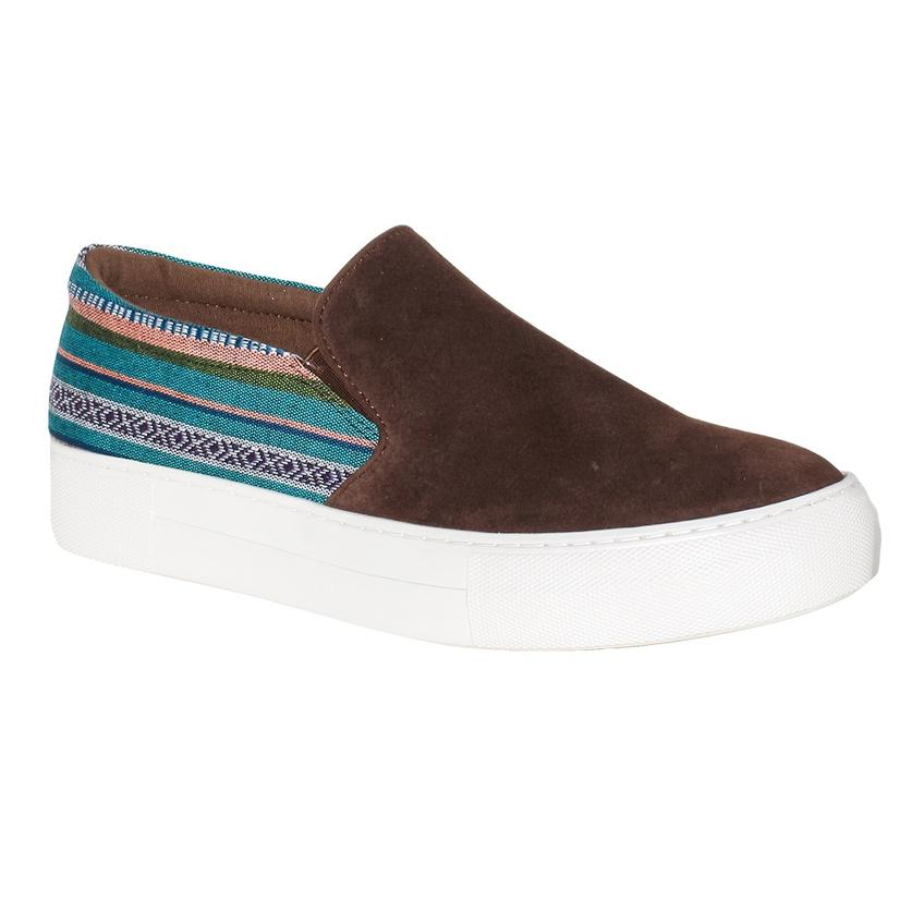 a2d8e3ee84f5 Roper Womens Darcy Brown Suede Aztec Slip On Shoes