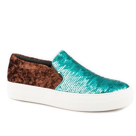 Roper Womens Darcy Turquoise Sequin & Velvet Shoe