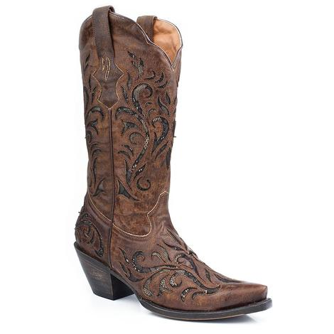 Stetson Womens Filigree Distressed Brown Leather Cowgirl Boots