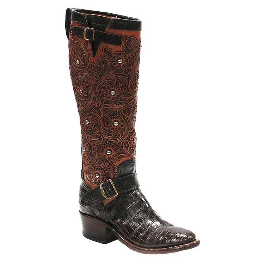 Rios Of Mercedes Womens Chocolate Croc Belly Tooled Western Boots