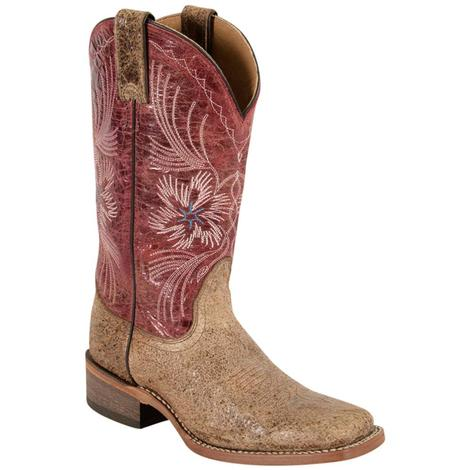 Nocona Womens Leather Square Toe Tan Dust Western Boots