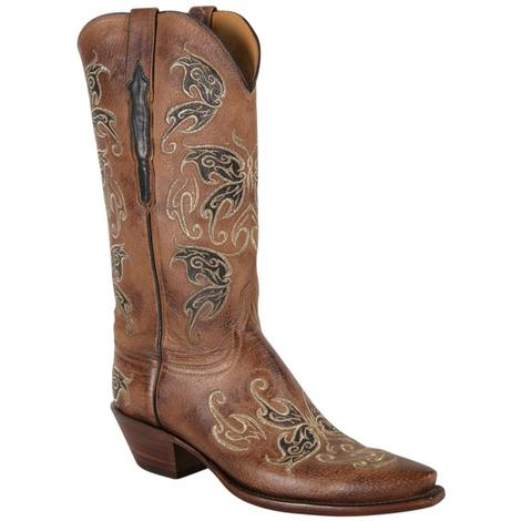 e172b6b647 Lucchese Womens Burnished Nutmeg Pig Leather Western Boots ...