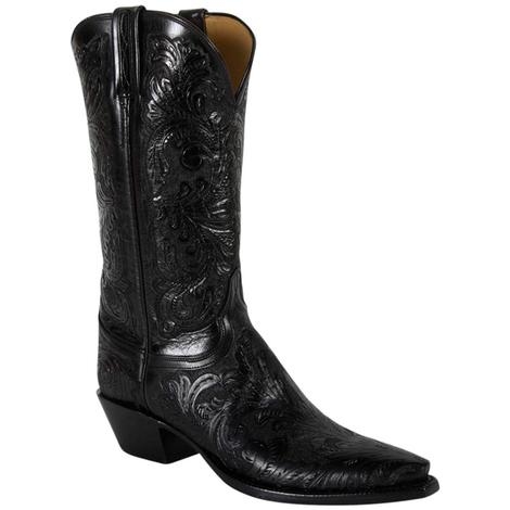 Lucchese Classic Womens Black Floral Hand Tooled Western Boots