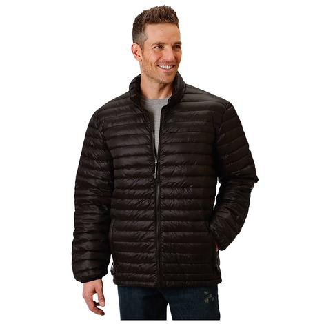 Roper Mens Black Puffy Zip Up Jacket