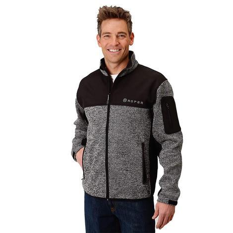 Roper Mens Bonded Combo Black and Grey Zip Jacket