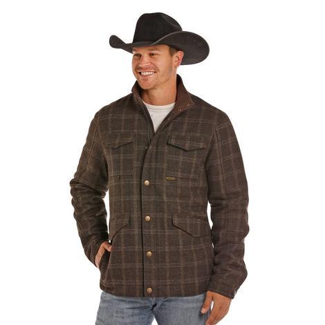 Panhandle Slim Mens Brown Plaid Wool Zip and Snap Jacket